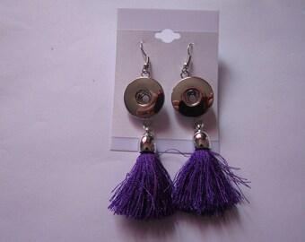 earrings for snap 18mm / 20mm purple