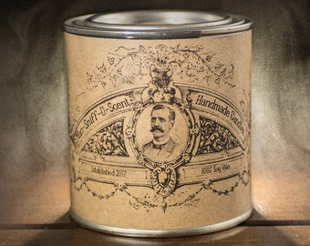 Bourbon and Cigar Scented Candle in a reusable 1/2 pint paint tin