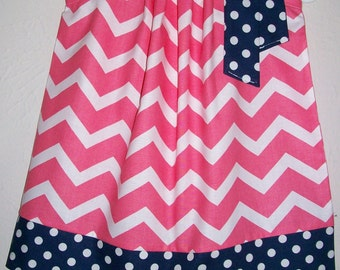 Pillowcase Dress Chevron Dress Summer Dresses for Girls Dress Coral and Navy Blue baby dresses toddler dresses Kids clothes for Girls
