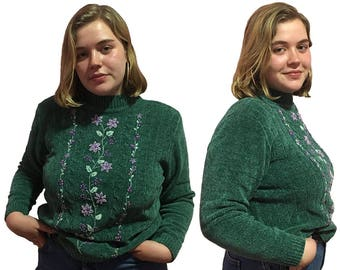 embroidered beaded chenille green mockneck turtleneck sweater L, XL, XXL