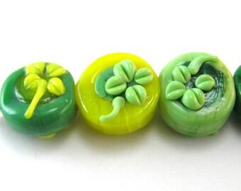 Green Shamrock Clover Bead Set of 10
