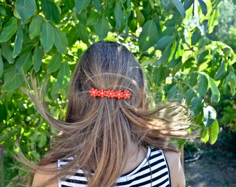 Hair clip about 8 cm daisy with red or orange daisies, nature, Gypsy, magic