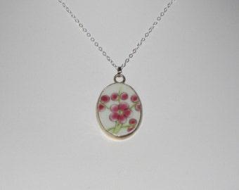 Sakura - Unique Pottery Shard Pendant on Sterling Silver Necklace