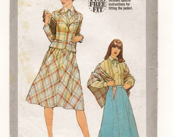 "A Gathered, Bias Cut Skirt, Long Sleeve Blouse, Notched Collar Jacket & Shawl Sewing Pattern for Women: Size 8 Bust 31-1/2"" •Simplicity 8441"