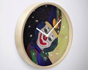 Clown Round Clock, Original Painting, Clown Wall Clock, Wall Art, Home Decor, Housewarming Gift, Designer Clock, Timepiece, Quartz Clock