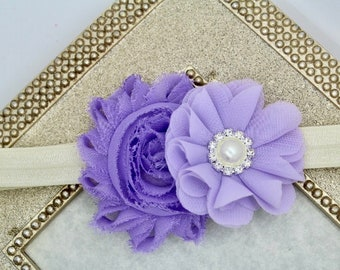Lavender kids headband, lavender baby girl headband, ivory and lavender headband, lavender baby girl wedding headband, lavender headband