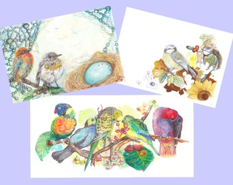 Set of 3 birds + envelopes