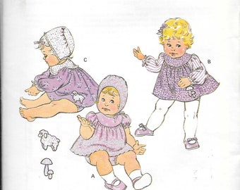 Infant S to XL UNCUT-Kwik Sew 1970s Dress Panties and Bonnet Vintage Sewing Pattern Transfer Included