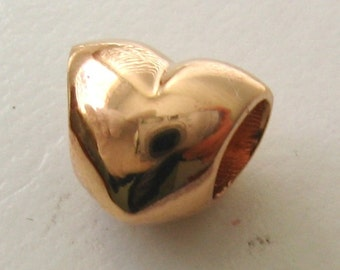 Genuine SOLID 9K 9ct ROSE GOLD Charm Serenity Love Heart Bead