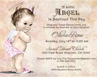 Christening invitations for girl christening invitation baptism invitation for girl christening invitation for girl vintage angel diy printable solutioingenieria Gallery