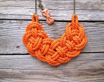 Orange Rope necklace Nautical rope knot necklace