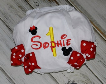 Mister and Miss Mouse Birthday Monogrammed Diaper Cover /  Baby Diaper Cover / Baby Bloomers / Baby Gift / Baby Shower Gift
