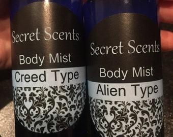 Designer fragranced type body mist