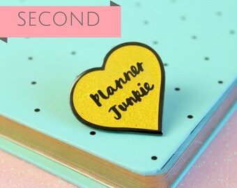SECONDS Planner Junkie Enamel Pin, Planner lapel pin, Heart Planner Pin, Glitter Planner brooch | Claireabellemakes