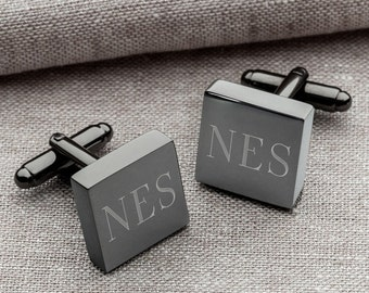Stainless Steel Cufflinks Monogrammed – Custom Wedding Cufflinks for Groom, Groomsmen