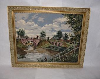Large needlepoint landscape picture bridge river framed