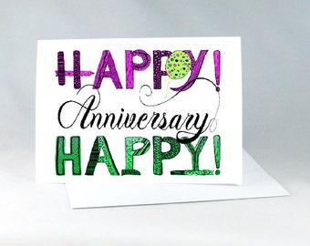 Happy Anniversary, Love Card, Happy Anniversary Card, Special Couple Card, Wedding Anniversary Card, Hand Drawn Anniversary Card,  1137