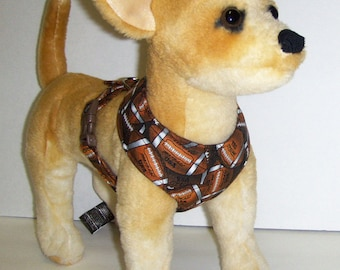 Comfort Soft Harness for Small Dog. Football. - Made to order -