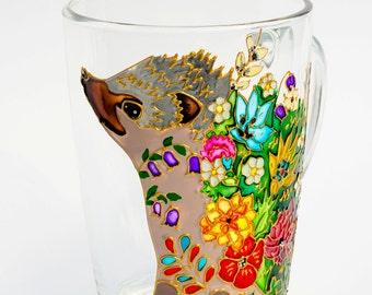 Hedgehog Mug, Best friend Gift, Hedgie Woodland Animal, Floral Mug, Personalized Gift, Funny mug Ready to Ship