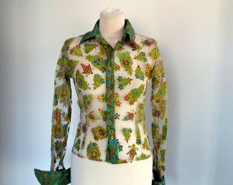 Transparent Green Blouse, Transparent Floral Blousese, Casual Green Blouse, Summer Style, Green Shirt with Flowers Print