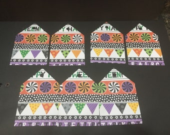 "Cute Colorful Halloween Tags - Set of 7 - 4"" Tags"