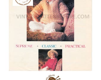 """Girls 1990s, V or round neck, cable, dolman sweater 24"""" - 30"""" chest - Vintage PDF Knitting Pattern 776"""