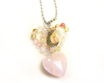 Rose Quartz Heart necklace with bead heart and moon charm