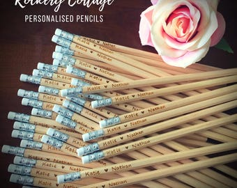 120 wedding pencils, wedding favours, personalised pencils, custom pencils, personalised wedding favors, engraved pencils, HB pencils, wood