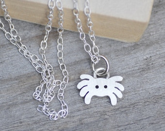 Spider Necklace In Sterling Silver, Cute Spider Necklace Handmade In England