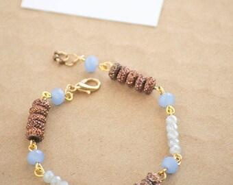 Blue Copper Chain Bracelet| Simple Bracelet | Stackable Bracelet | Mix and Match Bracelet | Colorblock Bracelet