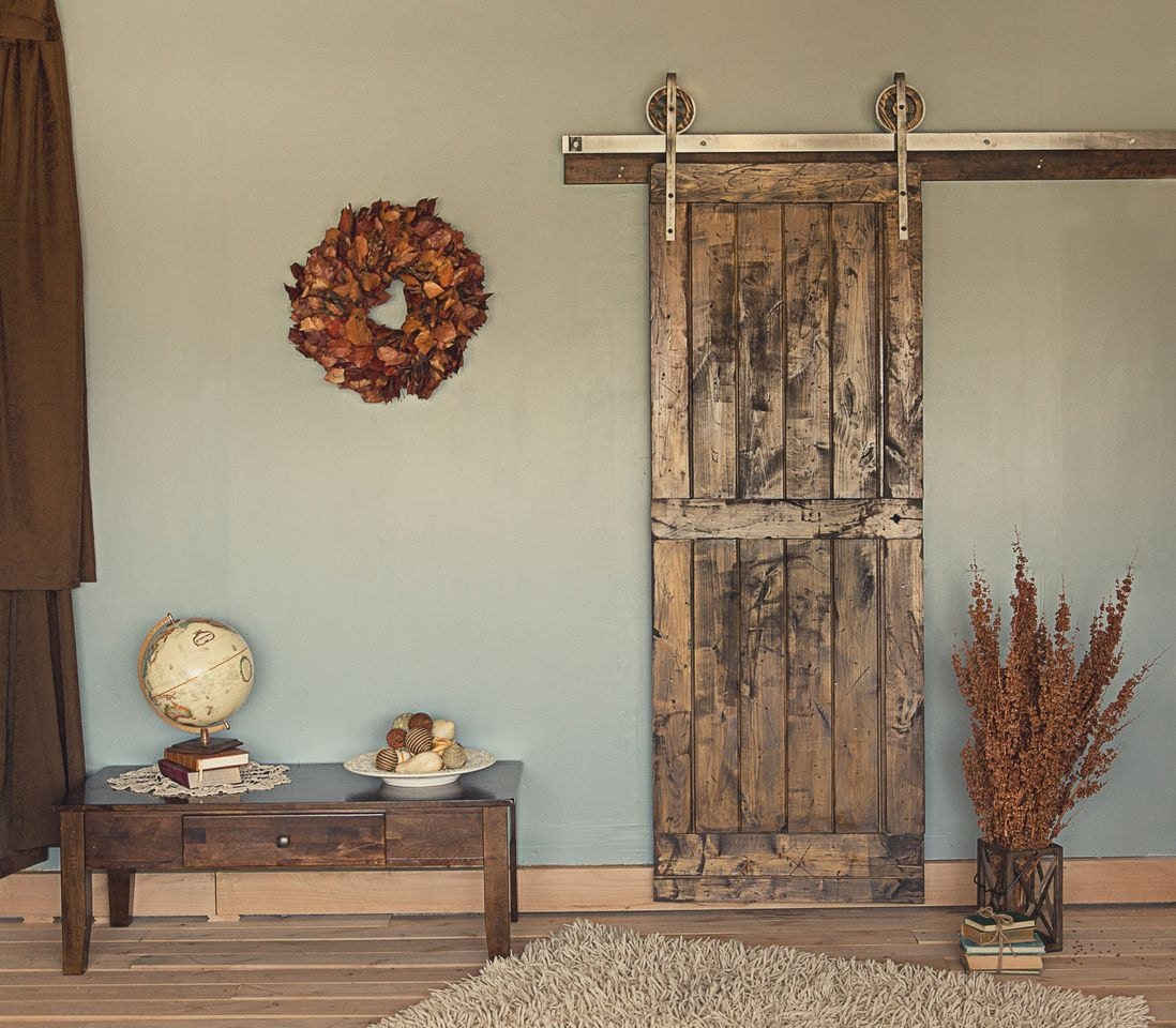 🔎zoom - 8 Ft Rustic Vintage European Sliding Steel Barn Wood Door