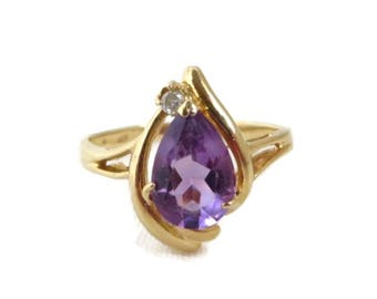 Amethyst Gold Ring, 14k Gold Ring, Amethyst & Diamond Ring, Vintage Ring, Solid Gold Ring, February Birthstone, Boho ring, For Her