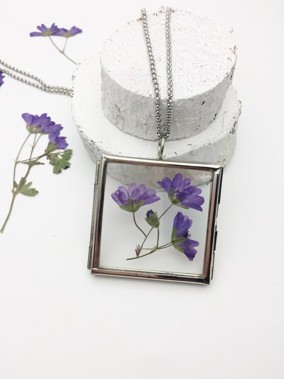 Silver Flower Locket Square Glass frame Purple Real Dry Pressed Flowers Botanical Wildflower Jewelry handmade natural herbarium boho pendant
