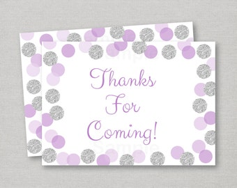 Glitter Dot Party Favor Tags / Thank You Tags / Glitter Baby Shower / Glitter Confetti / Purple & Silver / Baby Girl / INSTANT DOWNLOAD A151