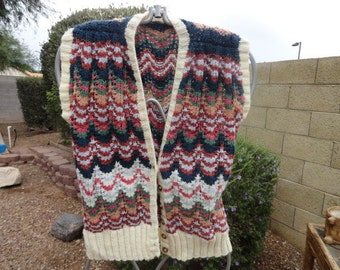 Size Medium sweater 40 in bust 24 in leng  Acrylic wool-sweater-ugly sweater- sweater- ugly christmas sweater--