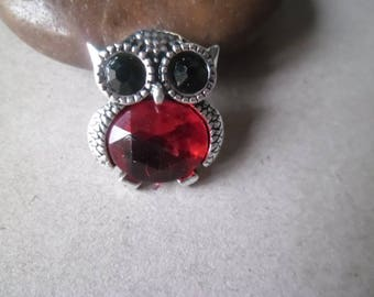 x 1 snap click jewel rhinestone Red/Black Silver 1.9 x 1.65 cm OWL