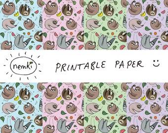 Sloth Printable Paper Sloth Downloadable Paper Sloth Digital Paper Sloth Print Sloth Downloadable Sloth Pattern Paper Sloth Paper