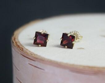Princess Cut Garnet 14k Yellow Gold Stud Earrings, January Birthstone Earrings, Red Gemstone, Garnet & Gold, Studs, Ready to Ship Earrings