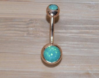 Mint Green Double Gem Rose Gold Plated Belly Button Ring Navel Body Piercing Jewelry