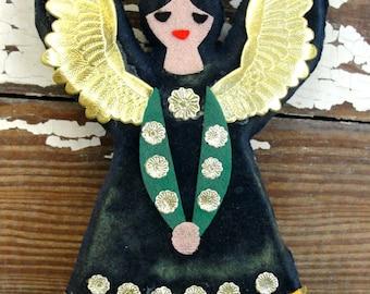 Vintage Blue Flocked Felt Angel Christmas Tree Ornament Instrument Plastic with Gold Foil Details