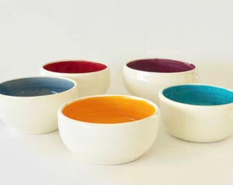 Handmade Ceramic Small Rainbow Bowls