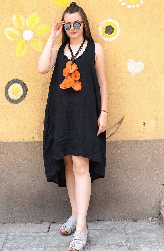 Genuine Leather Woman Necklace | Autumn Summer Jewelry | Black Orange Extravagant Handmade Necklace | Extra Long Necklace
