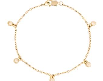 Solid 14K Gold Sphere Bracelet, Handmade 14K Bracelet in Custom Lengths, Charm Bracelet Gift for Her