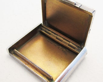 Unusual Swedish Import Art Deco (c1930) Solid STERLING 935 Silver Stamp Case (Pill Box, micro SD card holder)