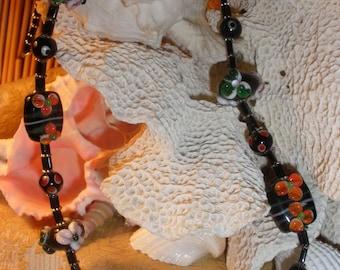 Lava Flower Lampwork Glass Bead Necklace