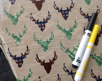 Splat splash Mat, Art Mat or Table Cloth, Elk Deer Heads on Tan Wood Grain for Riley Blake, Waterproof laminated cotton, BPA Free
