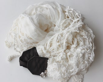 NEW Studio Love Camera Strap: boho fringe lace scarf pro photographer dslr leather crossbody