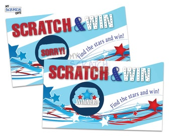 Scratch Off Game Card Patriotic 4th of July Game - Party Favor Scratch-Off