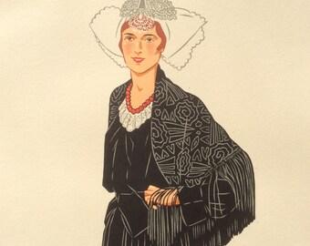 Vintage 1930s Pochoir Fashion Print Illustration Regional French Costume Sables D'olonne Photolithography Stencil Lace Hat Shawl Bonnet