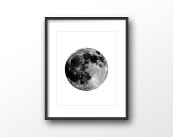 Moon print - Scandinavian printable art - Scandinavian modern print - Full moon art print - Digital art - Lunar poster - Minimalist wall art